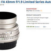 Pentax-smc-FA-43mm-f1.9-limited-series-lens-listed-as-discontinued