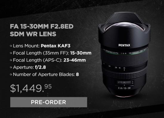 HD PENTAX-D FA 15-30mm f:2.8 ED SDM WR lens additional coverage