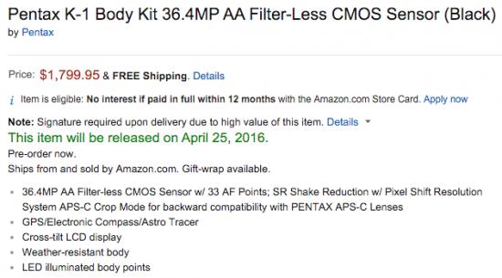 Pentax K-1 camera shipping date