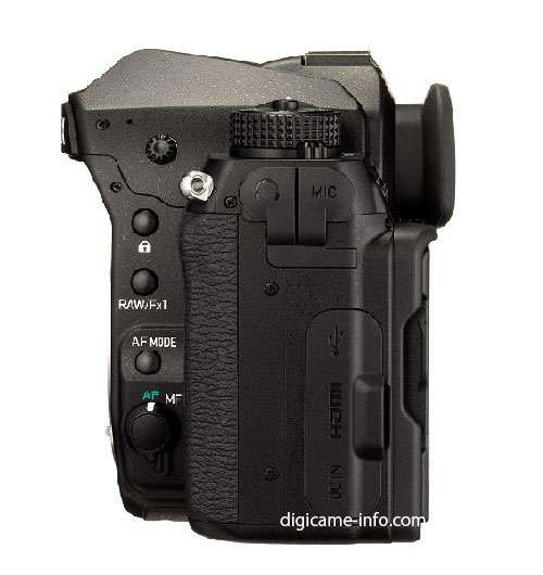 Pentax K-1 full frame DSLR camera side view
