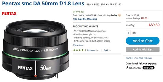 Pentax-smc-DA-50mm-f1.8-lens-sale