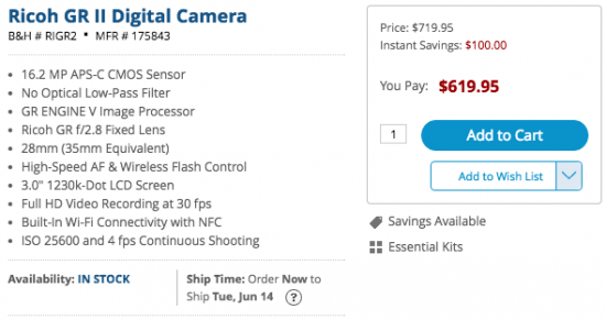 Ricoh GR II camera sale
