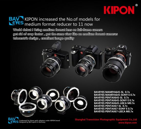 Kipon Baveyes adapters for Pentax medium format lenses