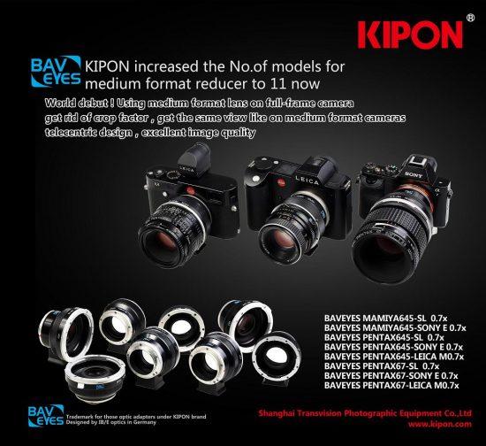 Kipon Baveyes adapters for Pentax medium format lenses
