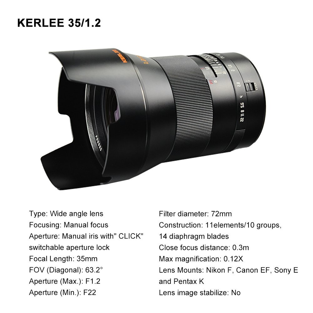 The Kerlee 35mm f/1.2 full frame DSLR lens is available also for ...