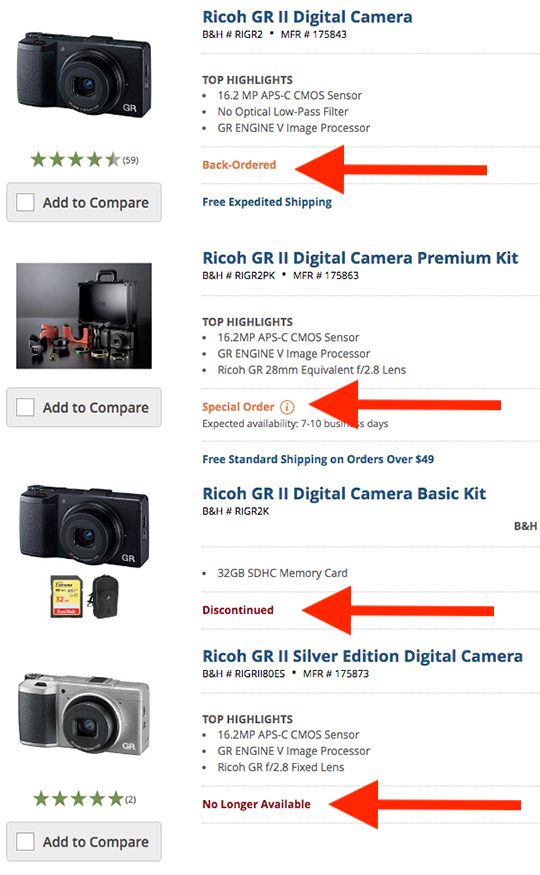 Ricoh GR II camera on backorder at B&H and Adorama (plus a