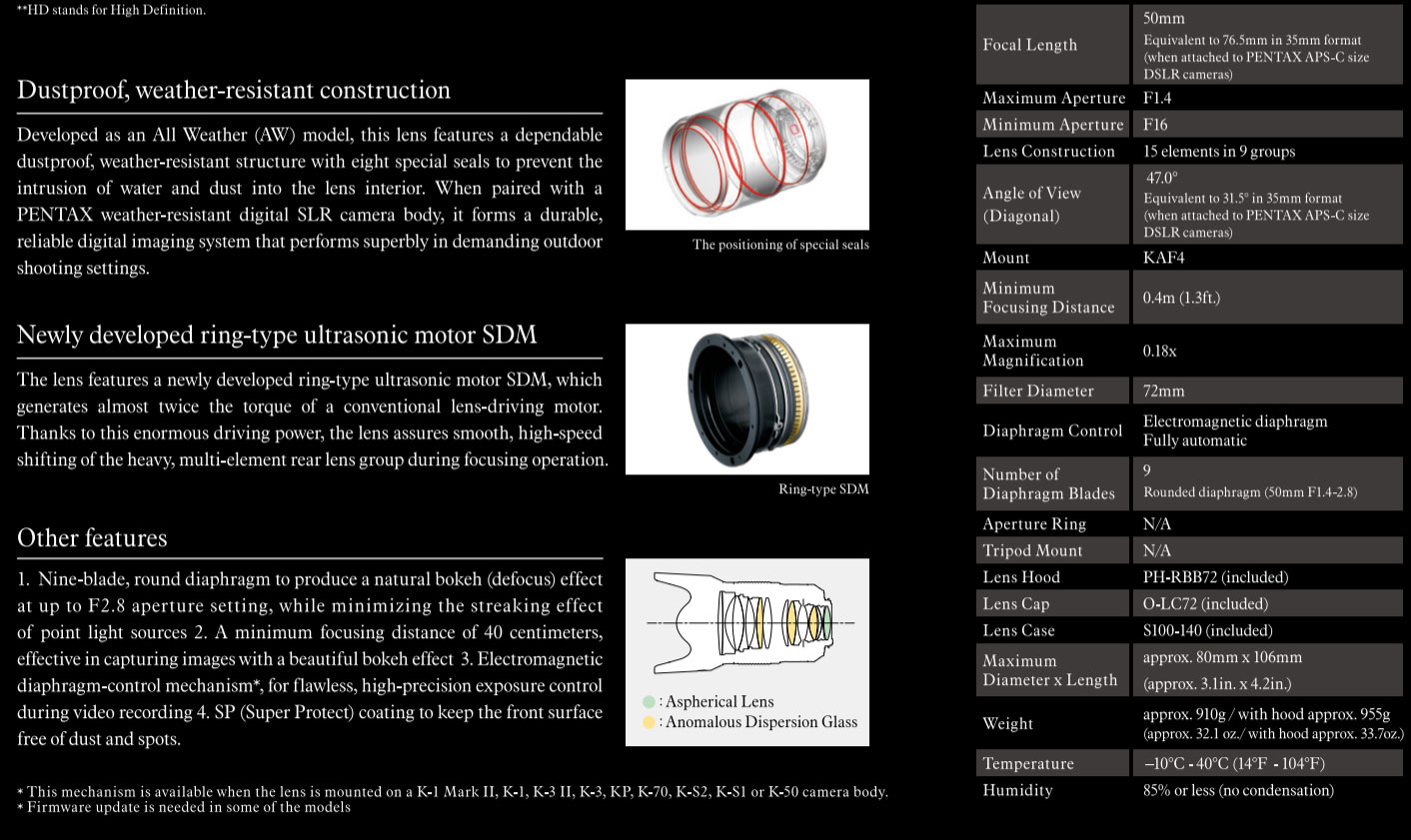 HD PENTAX-D FA ☆ 50mm f/1 4 SDM AW lens specifications and