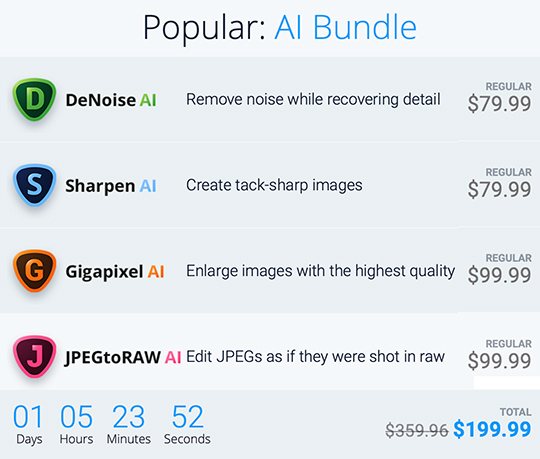 Topaz Labs DeNoise AI and Topaz Labs AI bundle sale ends